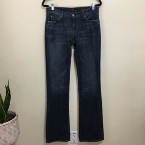 7FAM long bootcut dark wash jeans